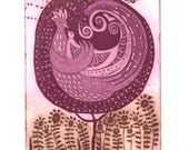 etching, Poetree, rose pink, green, writers, poets, printmaking, tree, flower, bird, nature, home interior, mother and child, inspirational