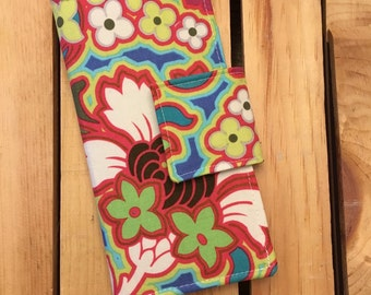 Womens Carry All Snap Wallet in Lime and Hot Pink Floral Cotton Print by Amy Butler