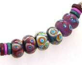 Handmade Lampwork Beads - Western Wind! 3 pairs. Dot reactions on cocoa, copper green, pink raspberry.