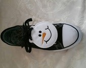 Snowman shoe wings,  shoe charms (finished item)