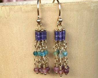 SALE Beautiful Tiny Tourmaline and Appatite Gemstone and Seed Bead Earrings