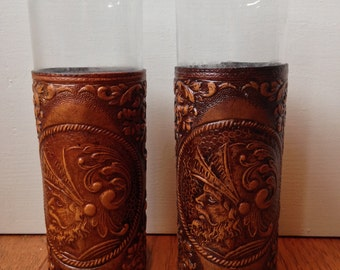 Medieval Themed Embossed Leather Wrapped Drinking Glasses