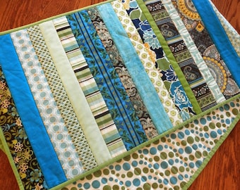 "Scrappy Quilted Table Runner, 14"" X 47"" Long Summer Table Topper Runner, Modern Runner Quilt in Blues and Greens"