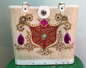 Enid Collins STYLE purse, Midcentury handbag. jeweled purse  1960s floral rhinestones leather trim