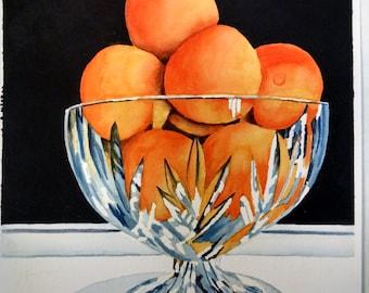 Oranges Crystal Bowl Watercolor Painting