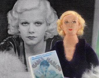 Old Hollywood Jean Harlow Doll Art Miniature