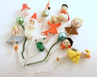 Vintage Christmas Picks Snowman Angel Elf Santa Package Tie Ons Corsage Picks