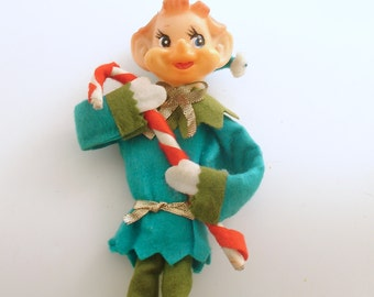 Vintage Christmas Decoration Pixie Elf Candy Cane