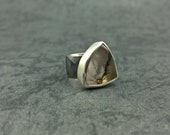 Foliage- Sterling silver and dendrite quartz ring- One of a kind.