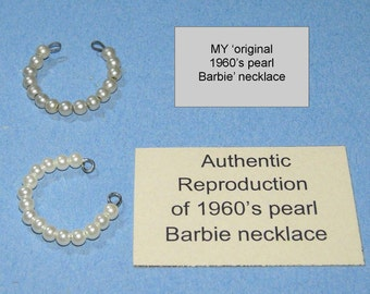 Handcrafted 1960s Authentic-Reproduction Barbie choker necklace w/shopping bag