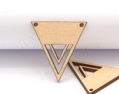 4pcs handmade laser cut wooden charm pendant triangle wood cut (WB-120)