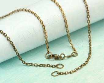 4 pcs handmade antique bronze finish cable chain necklace with 2 jump rings CH103