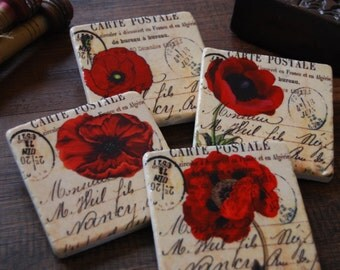 Red Poppies coaster (set of 4)