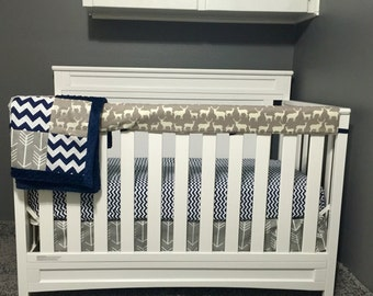 Deer Family Navy Gray with Arrows 3 Piece Baby Crib Bedding Set MADE TO ORDER