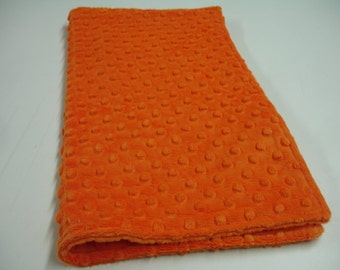 Orange Minky Burp Cloth Double Sided 16 x 17  READY TO SHIP