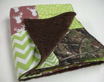 Deer Hunter Brown and Lime Patchwork Minky Blanket You Choose Size and Minky Color MADE TO ORDER No Batting
