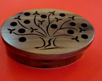 Tree of Life Wooden Keepsake Box Handmade from Walnut and Birch Sustainable