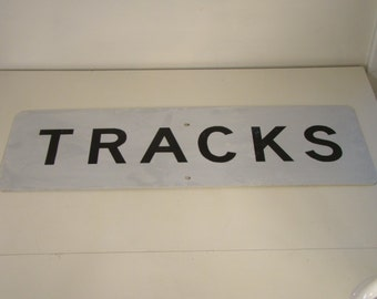 Vintage Railroad Sign Train Tracks Sign Vintage Metal Sign Reflective Road Sign Vintage Train Sign Train Collectible Man Cave Decor