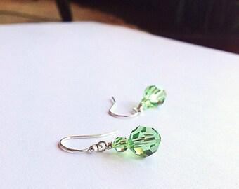 August birthstone earrings - Peridot earrings - crystal earrings - 3rd anniversary gift - 15th anniversary - green earrings - Peridot