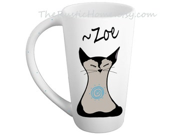 Siamese kitty cat mug ceramic pottery mug personalized cat lover kiln fired tall mug 16 oz large mug coffee tea mug custom cat meditation