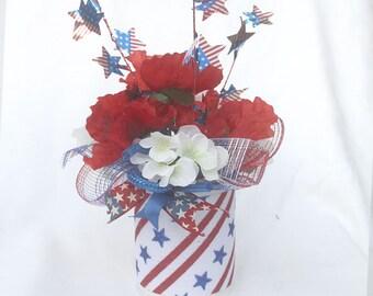 Patriotic floral arrangement, July 4th Centerpiece, Summer table arrangement, red white blue silk flower arrangement, memorial day, decor