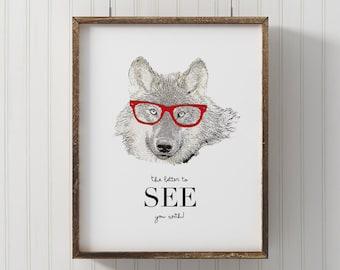 Wolf Print, PRINTABLE, big bad wolf print, little red riding hood, Animal wall art, nursery print, hipster animal, fairy tale print