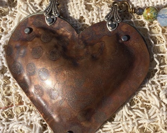Brave soul Etched copper and nickel silver puffy heart pendant necklace