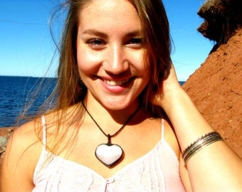 Selenite Heart Necklace, Selenite pendant necklace, Angel necklace, peace necklace,  Healing crystal necklace, Healing, Reiki , crystal