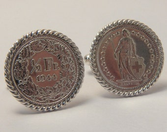 Sterling silver and Swiss 1/2 Franc cufflinks handmade in the USA
