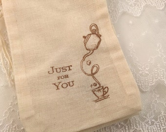 Just for You Tea Party Bags Favor Bags Set of 10