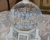 Beautiful Antique Blue & White Birdcage