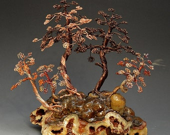 Forest Style Bonsai Wire Tree Art Sculpture  - 2241 - FREE SHIPPING
