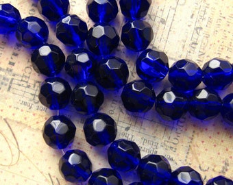 """Cobalt Blue Glass Beads 10mm - 32 Beads Per 12"""" Strand - Navy Blue Faceted Round Beads Fire Polished (CBD0165)"""