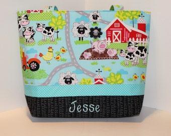 Personalized Diaper Bag Tote . On the Farm . Weekender / XL size . monogrammed FREE . boy diaper bag . boy daycare bag . farm diaper bag