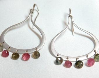 Tourmaline Hoop Earrings - Tourmaline Earrings - Green Earrings - Pink Earrings - Everyday Earrings - Hoop Earrings