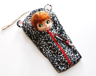 "The Original Blythe Sleepsack from PINKKIS: ""LUCKY"" Leopard Carrier for Blythe Dolls"