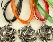 Large Rose Pendant with an Organza Ribbon Necklace
