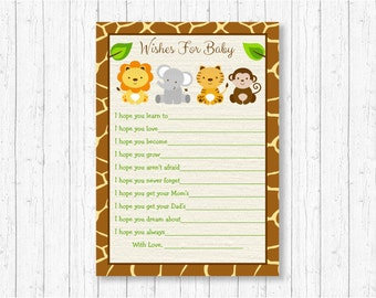 Safari Animal Wishes for Baby Cards / Safari Baby Shower / Jungle Animal Baby Shower / Gender Neutral / INSTANT DOWNLOAD A100