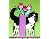 Cat Lover Art Print/ Longhair Black & White Cat with Tulips by Susan Faye