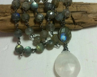 Labradorite Wire Wrapped Stone Necklace and Moonstone Drop