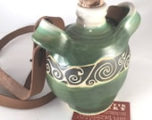 Celtic Vine Squished Bottle - Corked Bottle on a Leather Strap - Moonshine, Liqour bottle - Festival Renn Faire Canteen - Ceramic Water Jug