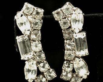 Earrings - Clear Rhinestone Clip Earrings Vintage