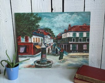 Vintage Painting Street Scene - Acrylic on Canvas Board - Town with Monument - 1950s