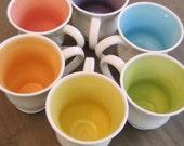 Large Mugs, Rainbow Pottery Coffee Mugs - Wedding Gift - Set of 6 Stoneware Coffee Cups 16 oz.