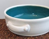Brie Baker - Gourmet Gift Pottery Casserole Dish in Peacock Blue / Green - Chef Gift