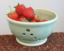 Berry Bowl with Saucer - Ceramic Berry Bowl - Modern Mint Green Stoneware Pottery Bowl