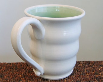 Large Coffee Mug in Mint Green 16 oz.  Stoneware Pottery Beehive Coffee Cup