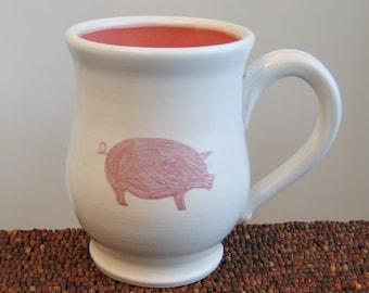 Pig Mug - Large Ceramic Stoneware Pottery Coffee Cup 16 oz.