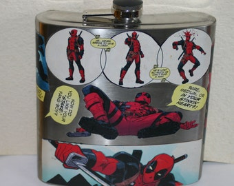 40oz Deadpool Flask Decoupaged Marvel Comics Deadpool Flask