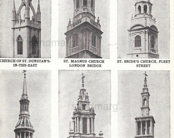 Architecture Chart Sir Christopher Wren Church Spires of London